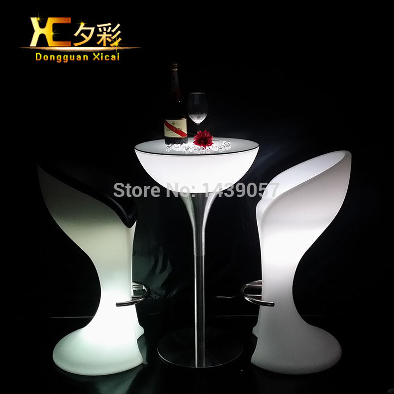 LED Luminous Bar Table Plastic Color Changing Coffee Dining Room Garden Drinking Tables