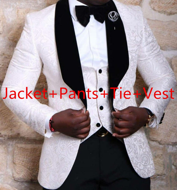 LN024 Brand New Groomsmen Shawl Lapel Groom Tuxedos Red/White/Black Men Suits Wedding Best Man Blazer (Jacket+Pants+Tie+Vest)