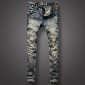 Italian Style Men Jeans Top Quality Fashion Youth Street Biker Jeans Retro Vintage Design Denim Pants Destroyed Ripped Jeans Men