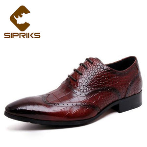 Sipriks Genuine Business Leather Shoes Men Dress Burgundy Formal Male Shoes Pointed Toe Brogue Shoes Men Wingtip Oxfords Shoes