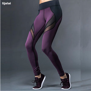 Lijalai Fitness Yoga Sports Leggings For Women Sports Tight Mesh Yoga Leggings Yoga Pants Women Running Pants Tights for Women