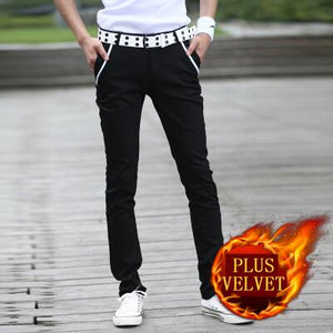 Hot selling winter plus velvet thicken slim casual pants men cotton white skinny pants Pockets design fleece trousers size 28-44