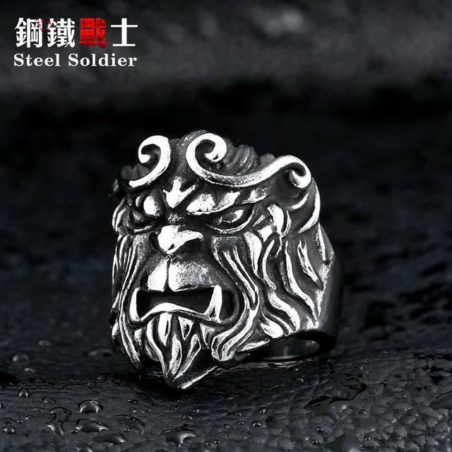 steel soldier New Design TV play Journey to the West style ring personality monkey king jewelry stainless steel men jewelry
