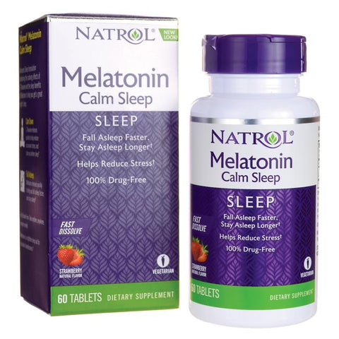 60 Cápsulas con Melatonina con Teanina (Calm & Sleep - Fast Dissolve - Strawberry) -Natrol