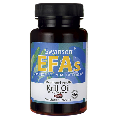 30 Cápsulas de Maximum Strength Krill Oil con 1000 mg  - Swanson EFAs