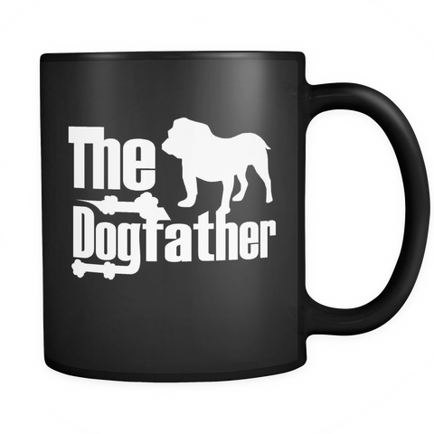 The Dogfather Bulldog 11oz Black Coffee Mug - English/England Bulldog Pet Owner Rescue Gift