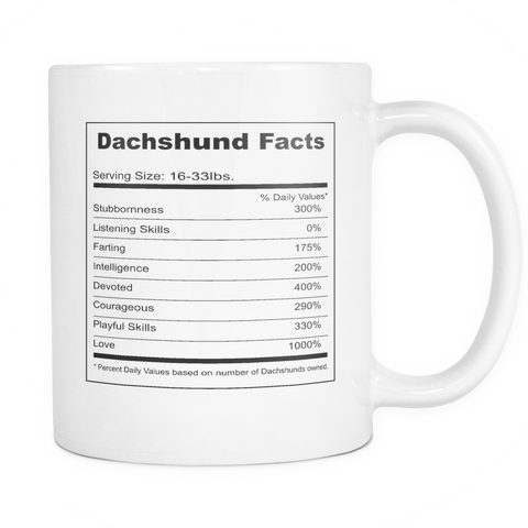 Dachshund Facts 11 oz Coffee Mug (FREE Shipping)