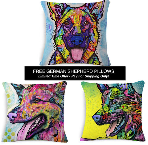 German Shepherd Pillow Covers - FREE- Only Pay Shipping!