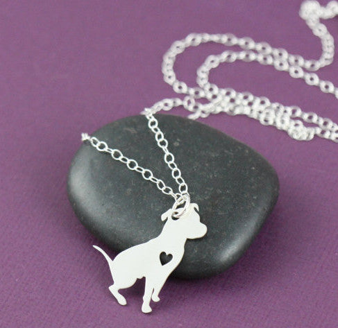 Pit Bull Heart Pendant and Necklace (Sitting Position)