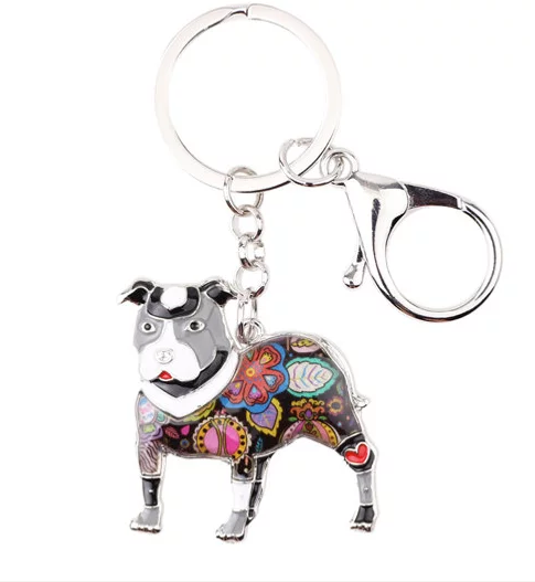 Pit Bull Jewelry - Pit Bull KeyChain- PitBull Art - Pit Bull Watercolor - Pit Bull Figurine- Mother's Day FREE Shipping