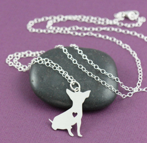 "Cute Chihuahua Sterling Silver/14k Gold Plated Heart Pendant and 18"" Necklace"