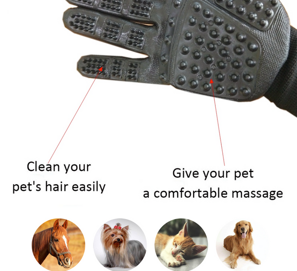 Compawions Grooming Gloves Version2 - Left and Right - Enhanced Five Finger Design - For Cats, Dogs & Horses - Your Pet Will Love It - FREE Shipping