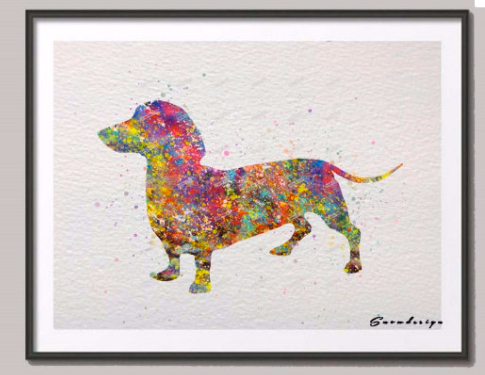 Dachshund Art - Dachshund Painting - Dachshund Watercolor - Dachshund Canvas Painting- FREE Shipping