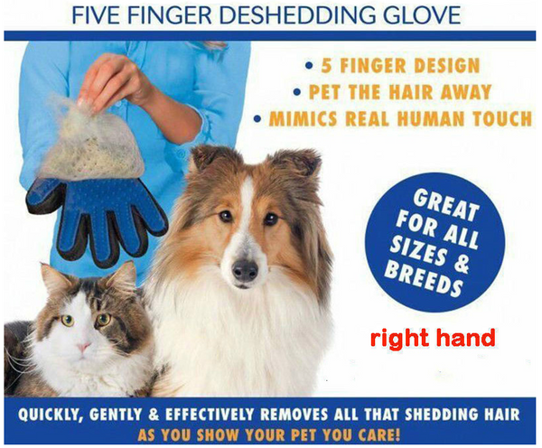 Compawions Grooming Gloves - Left and Right - Enhanced Five Finger Design - For Cats, Dogs & Horses - Your Pet Will Love It - FREE Shipping