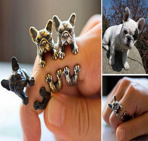 Vintage French Bulldog Ring Black Gun Plated / Antique Silver Plated / Antique Bronze Plated