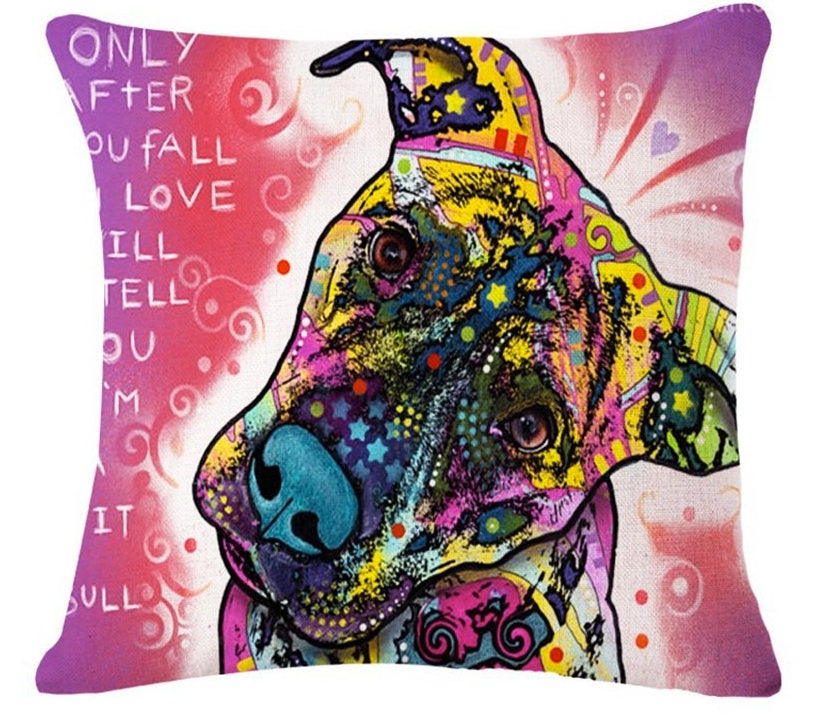 Pitbull Pillow- Only After You Fall In Love With Me - Throw Pillow COVER Pit Bull Painting - Pitbull Art - Pitbull Fabric - Pitbull Mom