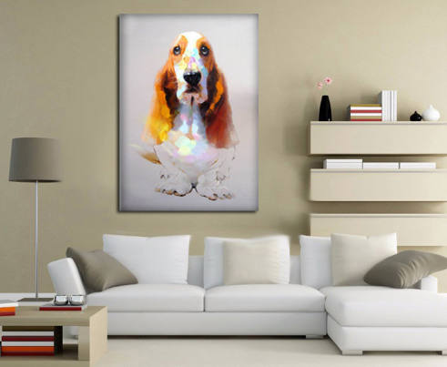 Basset Hound Art - Hound Painting - Bassett Hound Unique Oil Painted - Hound Dog Oil Handpainted Canvas Painting- FREE Shipping