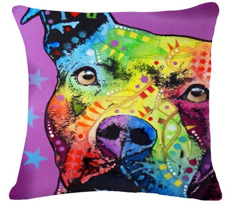 Pitbull Pillow- Purple Star - Throw Pillow COVER Pit Bull Pitbull - Pitbull Painting - Pitbull Art - Pitbull Mom