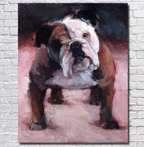 Bulldog Art - Bulldog Painting - Bulldog Unique Oil Painted - Bulldog Oil Handpainted Canvas Painting- FREE Shipping