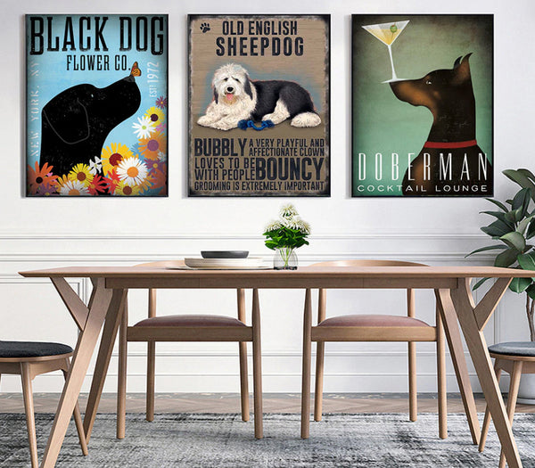 Assorted Coffee Dog Canvas Painting- Vintage Dog Paintings - Dog Art FREE Shipping