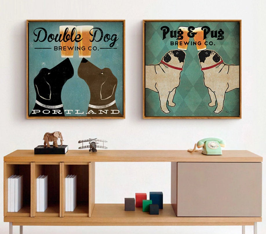 Assorted Vintage Dog Canvas Painting- Vintage Dog Paintings - Dog Art FREE Shipping