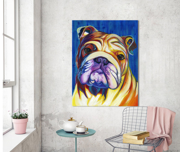 Bulldog Canvas Painting- English Bulldog Painting - Bulldog Art FREE Shipping