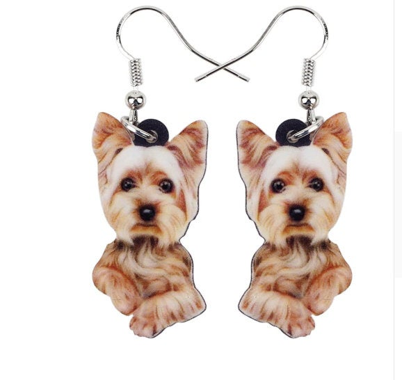 Yorkie Jewelry - Yorkie Necklace- Yorkshire Terrier Art - Yorkshire Earrings - FREE Shipping