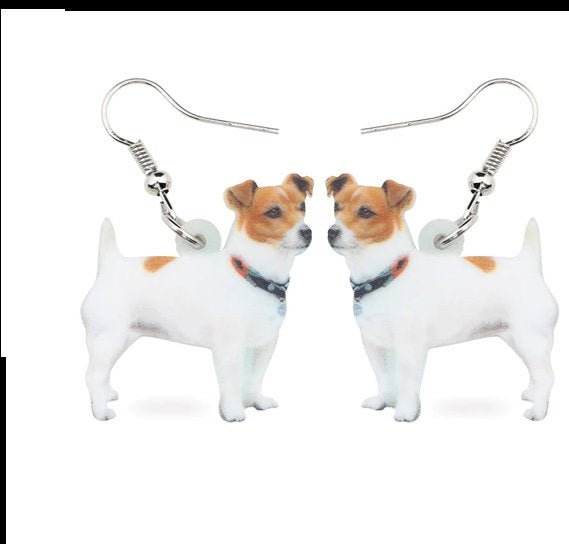 Jack Russell Jewelry - Jack Russell Necklace- Jack Russell Art - Jack Russell Earrings - FREE Shipping