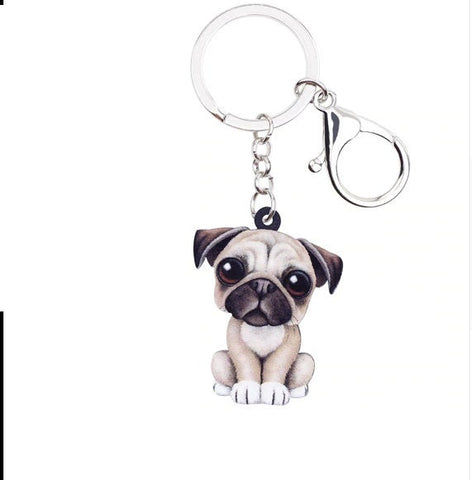 Pug Keychain - Pug Necklace- Pug Jewelry - Pug Earrings - FREE Shipping