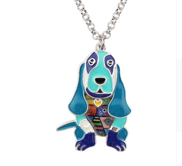 Basset Hound Dog Jewelry - Basset Hound Necklace- Basset Hound Art - Basset Hound Watercolor - Basset Hound Figurine- FREE Shipping