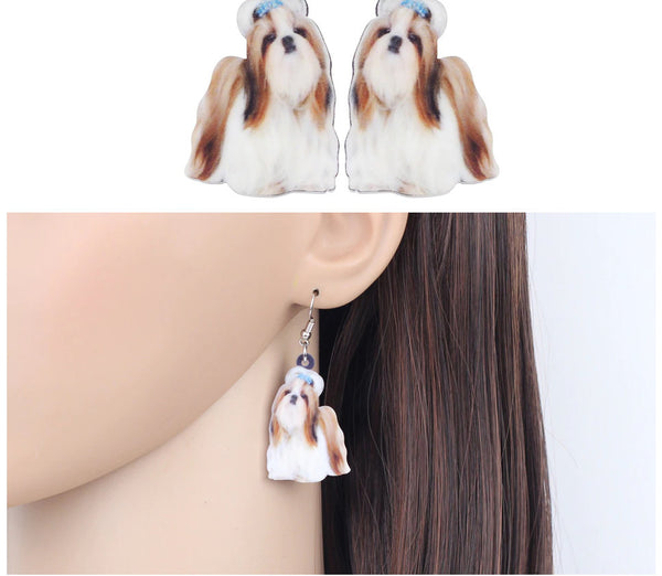 Shih Tzu Jewelry - Chinese Shih Tzu Necklace- Pug Art - Shih Tzu Earrings - FREE Shipping