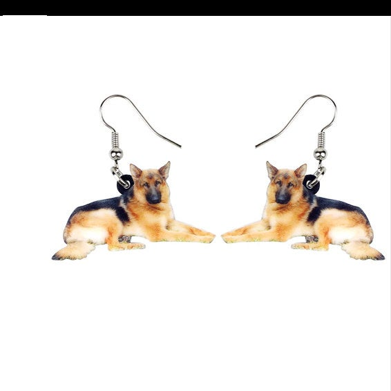 German Shepherd Jewelry - German Shepherd Necklace- German Shepherd Art - German Shepherd Earrings - FREE Shipping