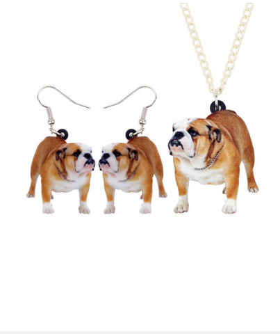 Bulldog Jewelry - Bulldog Necklace- Bulldog Art - Bulldog Earrings - Bulldog Jewelry Set- FREE Shipping