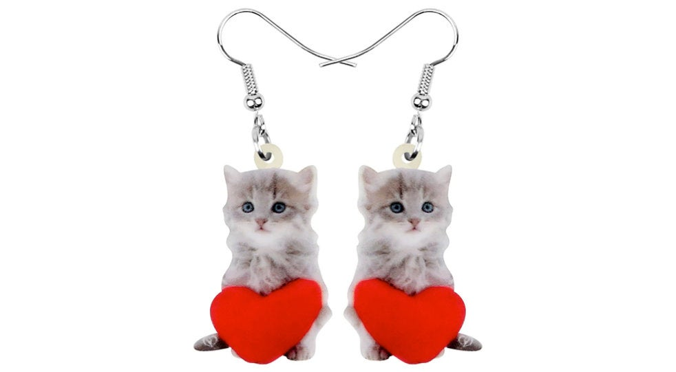 Cat with Heart Jewelry - Cat Necklace- Cat Art - Cat Earrings - Cat Jewelry FREE Shipping