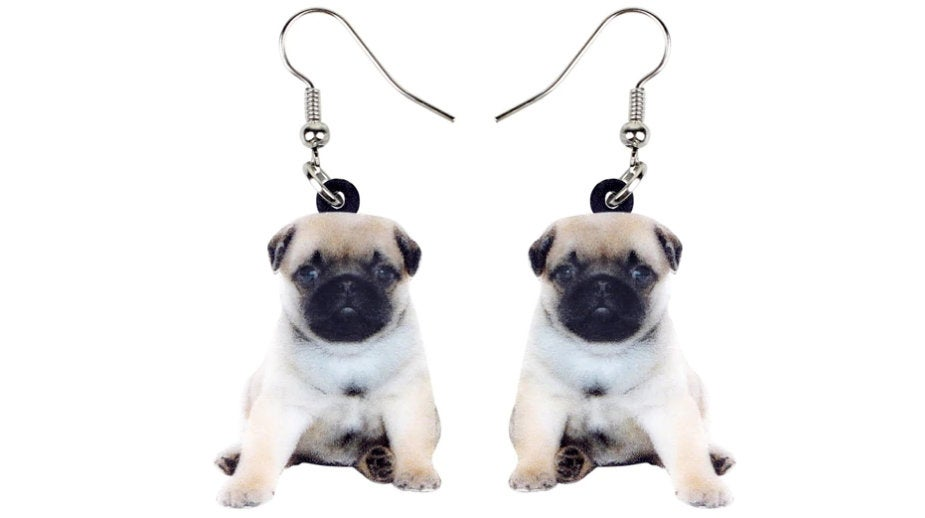 Pug Jewelry - Pug Necklace- Pug Art - Pug Earrings - FREE Shipping