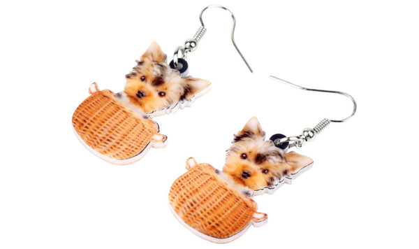 Yorkie Jewelry - Miniature Yorkie Necklace- Yorkshire Terrier Art - Yorkshire Earrings - FREE Shipping