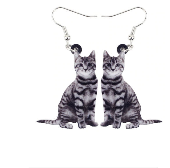 Cat Jewelry - Cat Necklace- Cat Art - Cat Earrings - Cat Jewelry FREE Shipping