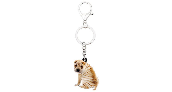 Shar Pei Keychain - Shar Pei Necklace- Shar Pei Jewelry - Shar Pei Earrings - FREE Shipping