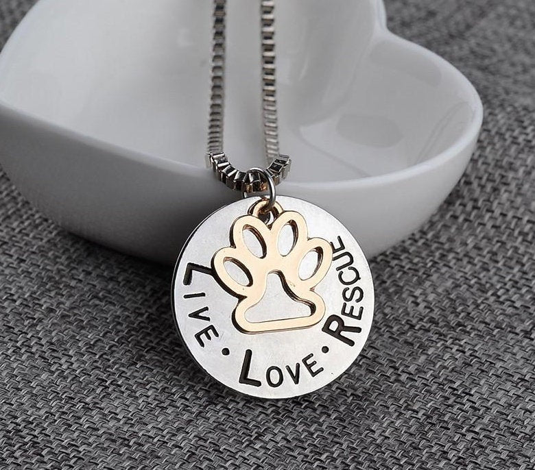Dog Tags for Dogs Jewelry - Gold Dog Tag Necklace- Small Dog Rescue Necklace - Small and Large Dog Rescue Dog Necklace FREE Shipping