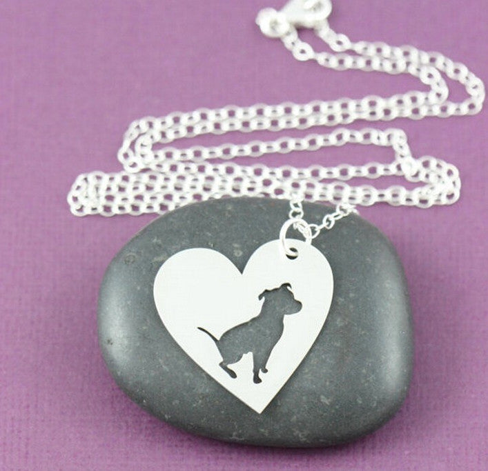 Pit Bull Inside Heart Shaped Pendant and Necklace