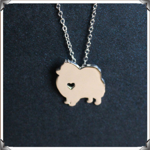 "Cute Pomeranian Sterling Silver Heart Pendant and 18"" Necklace"