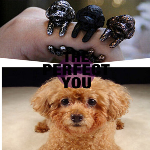 Vintage Poodle Ring Black Gun Plated / Antique Silver Plated / Antique Bronze Plated