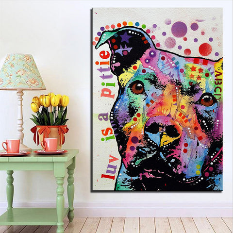 "Pit Bull Art - ""Luv is a Pittie"" Painting - Pit Bull Canvas Painting- FREE Shipping"