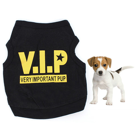 Puppy Black Cotton Blend T-Shirt VIP (Very Important Pup)