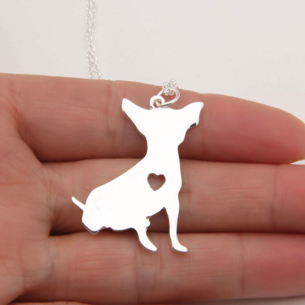 "Cute Chihuahua Heart Sterling Silver/14k Gold Pendant and 18"" Necklace - FREE - Just Pay Shipping!"
