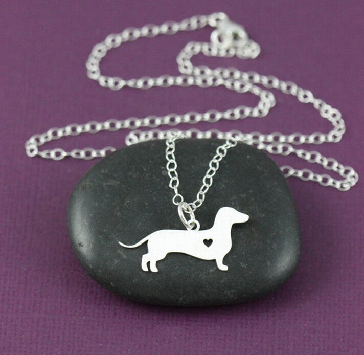 "Dachshund Silver Plated Heart Pendant and 18"" Necklace"