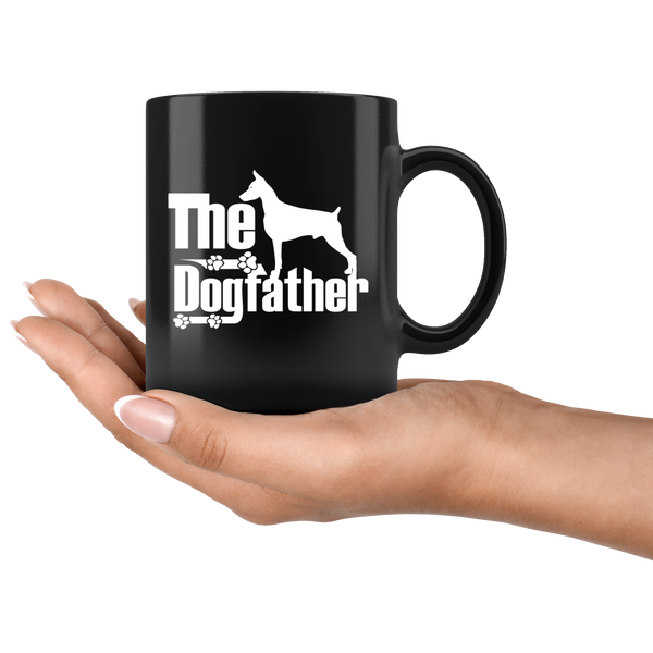 Doberman Lover Gifts The Dogfather 11oz Black Coffee Mug