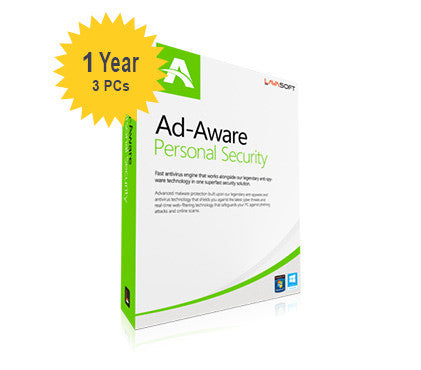 Lavasoft Ad-Aware Personal Security - 1-Year 3-PCs