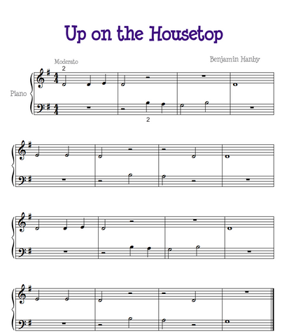 up on the house top easy piano