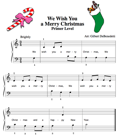 We wish you a merry christmas Piano easy sheet music